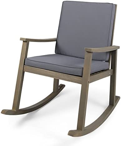 Christopher Knight Home 304649 Caspar Outdoor Acacia Wood Rocking Chair, Grey Finish Dark Grey Cushion