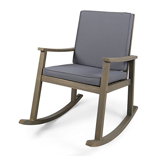 Great Deal Furniture | Caspar | Outdoor Acacia Wood Rocking Chair with Cushion | Grey/Dark Grey