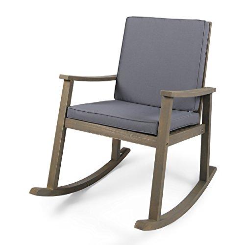 Christopher Knight Home 304649 Caspar Outdoor Acacia Wood Rocking Chair, Grey Finish Dark Grey Cushion