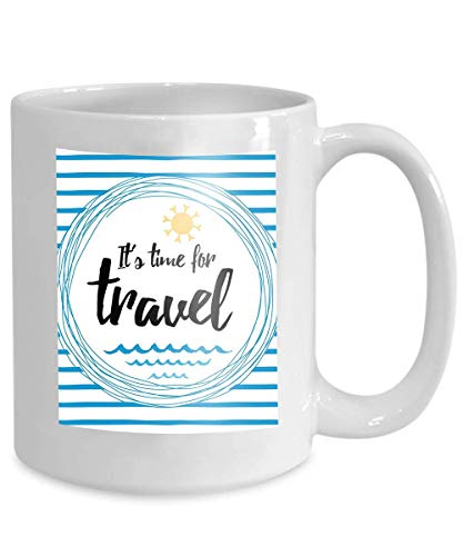 (mug coffee tea cup travel striped typographic card inspirational quote sun sea waves ocean banner s time to white blue 110z)