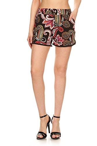 Leggings Depot Women's Ultra Stretch Printed Elastic Drawstring Short Pants Shorts / Ladies Shorts (Small / Medium (Size 0-12), Lilies Mandala)