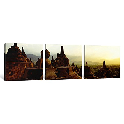 iCanvasART 3 Piece Indonesia, Java, Borobudur Temple Canvas Print by Panoramic Images, 48'' x 16''/1.5'' Depth by iCanvasART