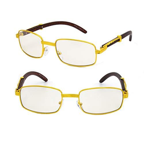 For Men's Gold Color Wood Effect Metal Frames UV 400 Retro Eye Clear Lens Glasses (Gold Rectangular #1)