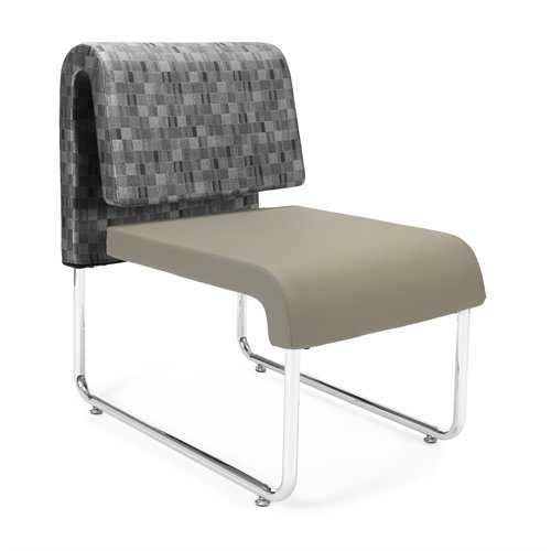OFM Uno Series Lounge Chair, Nickel/Taupe