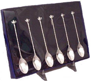 (Silver-Plated Tea Spoons - Set of 6 - Demi- Teapot Teaspoons)