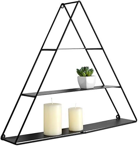 MyGift 3 Tier Triangular Matte Black Metal Display Shelf, Wall Mounted Pyramid Rack