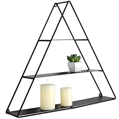 MyGift 3 Tier Triangular Matte Black Metal Display Shelf, Wall Mounted Pyramid Rack - A pyramidal wall-mounted display rack. Designed with 3 tiers in a triangular shape and a hole for hanging. Perfect for showing off your favorite books, candles, and office supplies. - wall-shelves, living-room-furniture, living-room - 41UPzMDqy3L. SS400  -