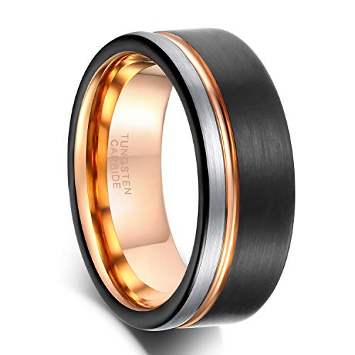 8mm Tungsten Carbide Wedding Band Rose Gold Grooved Line Ring Black and Silver Brushed Comfort Fit Size 9.5