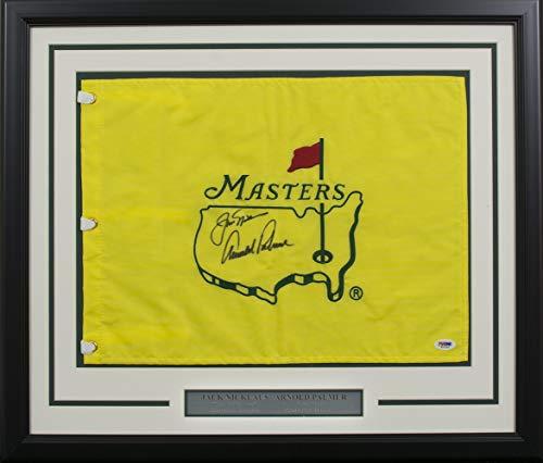 Jack Nicklaus Arnold Palmer Signed Framed Masters Flag PSA T03786