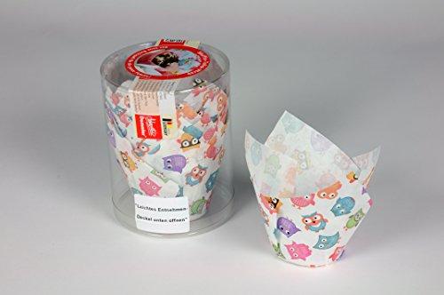Eulen Papierbackform Tulpe, 24 Stück
