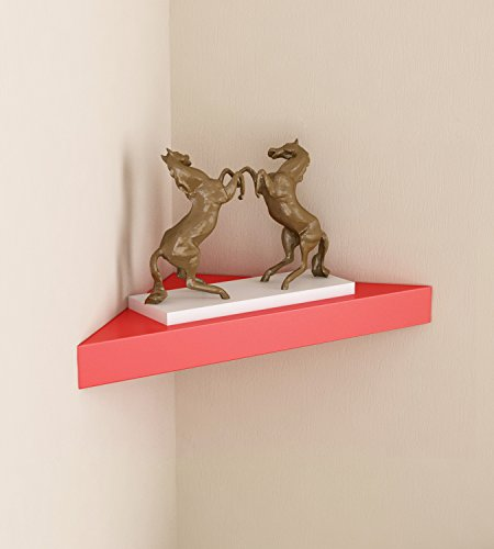 Home Sparkle Corner Wall Shelves MDF  Red