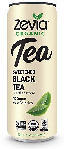 Zevia Organic Black Tea, 12 Count, Sugar-Free Brewed Iced Tea Beverage, Naturally Sweetened with Stevia, Zero Calories, No Artificial Sweeteners