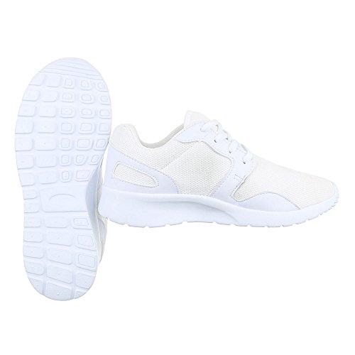 Ital-Design Sportschuhe Damenschuhe Geschlossen Sneakers Schnürsenkel Freizeitschuhe Weiß