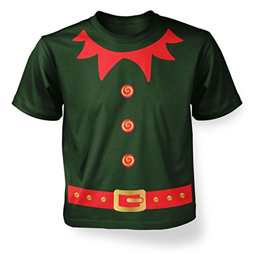Forest Elf Costume (Christmas Elf Kid's (red Detail) Costume X-Small Forest Green)