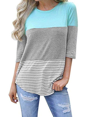 Sleeve Crewneck 3/4 Tee (kigod Womens Color Block 3/4 Sleeve Crew Neck Casual T-Shirt Blouses Back Lace Striped Tops Tee Shirts (Sky Blue, XX-Large))
