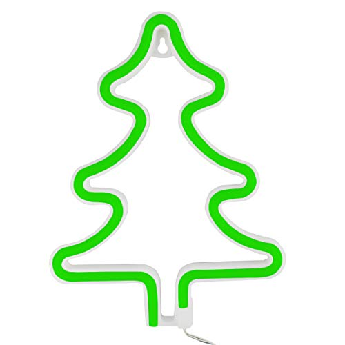 LED Light up Neon Night Light, Christmas Tree Neon Sign Battery/USB Operated for Birthday Party Wedding Bedroom Decorations Marquee Decor (Neon Christmas Tree Green Light) ...