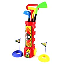 Ampersand Shops Toddler / Kids Complete Mini Toy Golf Set with 3 Colorful Golf Balls, 3 Types of Clubs, & 2 Practice Holes