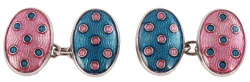 Zennor David Aster Mens Double Oval Chain Link Cufflinks - Blue/Pink