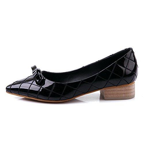 Negro Lazo Nbsp;de Puntera Zapatos Pu Tacón En Bajo Slip Nbsp;tacón ZTxCfqvw
