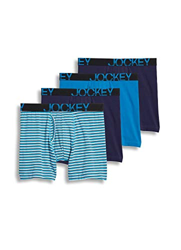 Jockey Men's Underwear ActiveStretchTM Midway Brief - 3 Pack 1 Bonus, White and Blue Stripe/Navy/Turquoise Gem/Navy, L