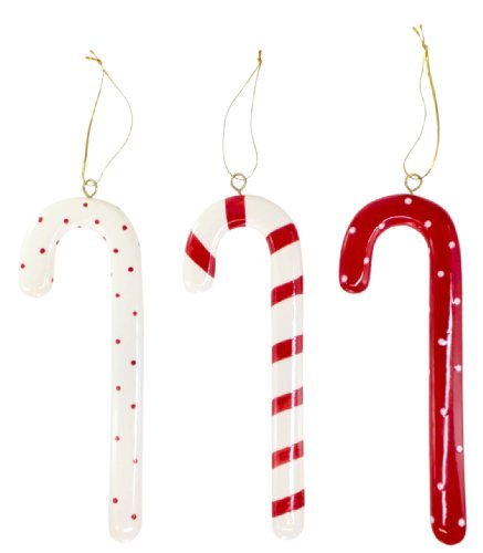 - SALLY FOSTER Ceramic Candy Cane Ornaments - Set Of 3