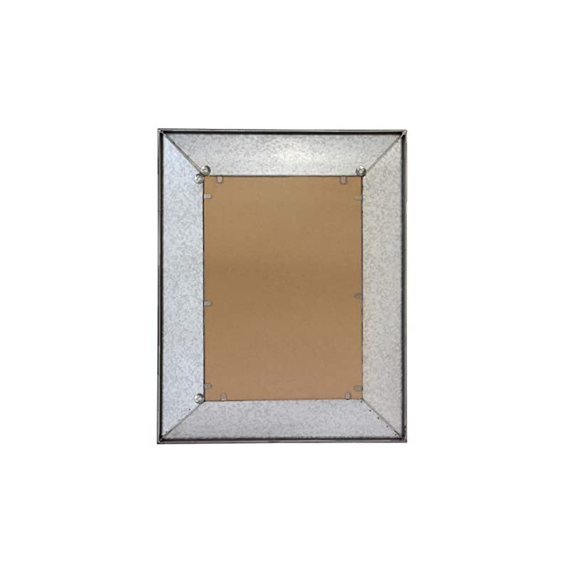 "Stonebriar Rustic Rectangular Galvanized Metal Frame Hanging Wall Mirror, 28"" x 22"", Silver"
