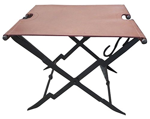 Deepeeka F0012 Folding Stool With Leather Seat by Deepeeka