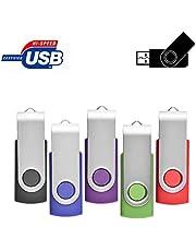 ARETOP Lot de 5 Clé USB 2.0 Flash Drive Mémoire Stick Stockage Pivotantes Porte Clef USB U Disque 5 Couleurs Mélangées