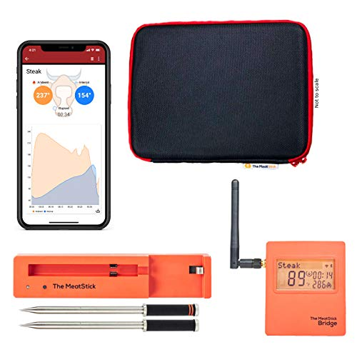 The All New MeatStick Unlimited Range WiFi Bridge Set - True and Smart 2 Wireless Meat Thermometers with Built-in App Cook Recipes for Grilling, Smoking, Oven, Kitchen Cooking