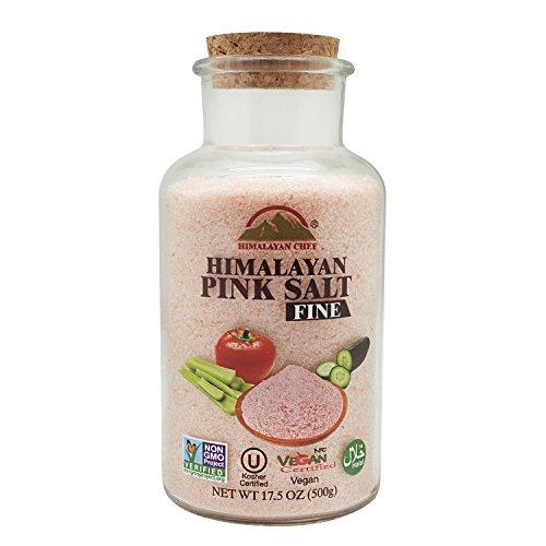 Himalayan Chef Pink Himalayan Salt Fine (Wide Mouth Jar w/Cork), 17.5 oz, Non GMO