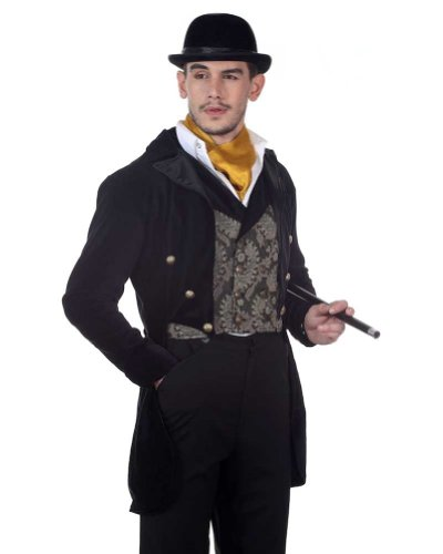 Steampunk Victorian Gentleman's Tailcoat - Black Cotton Velvet with Satin Lining and Lapels - size (Victorian Gentleman Fancy Dress)