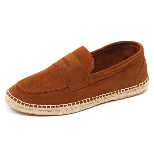 man brown leather shoe D2572 uomo loafer ABARCA espadrillas mocassino Marrone qwZx8BtT