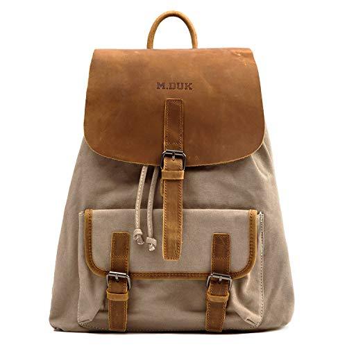 (Canvas Backpack, FIXM Genuine Leather & Canvas Vintage Laptop Backpack, 15.7×13×6