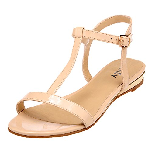 ZriEy women's Classic Ultra Comfort Sexy T- Strap Flat Sandals Nude size 11