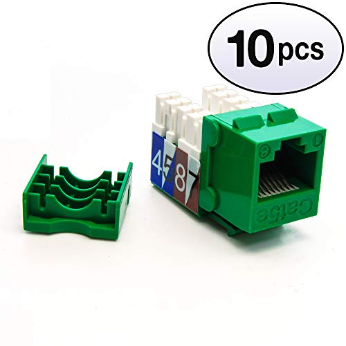 (GOWOS (10 Pack) Cat.5E RJ45 110 Type Keystone Jack Green)
