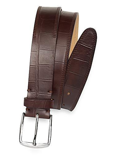 Paul Fredrick Men's Hubert Embossed Leather Belt Chocolate 34