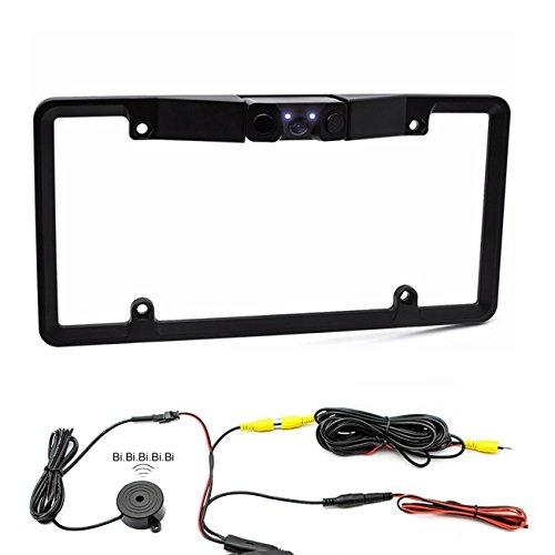 Car Backup Camera License Plate with 2 Radar Detector Sensors BiBi ...