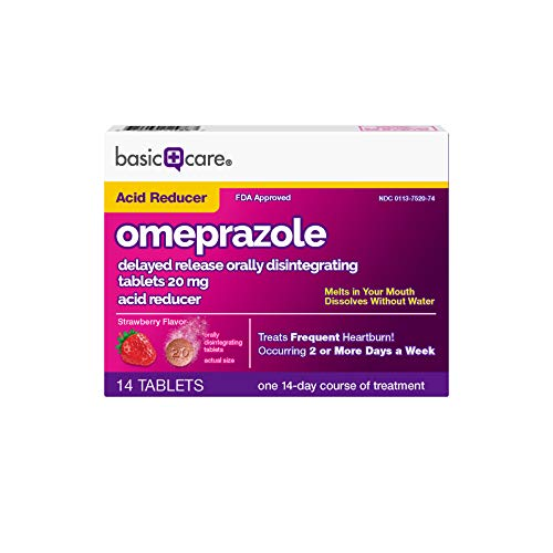 Basic Care Omeprazole Orally Disintegrating Tablets, Strawberry Flavor, 14 Count