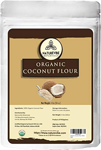Naturevibe Botanicals Organic Coconut Flour, 4lbs | Non-GMO and Gluten Free | High Fiber | Perfect for Baking