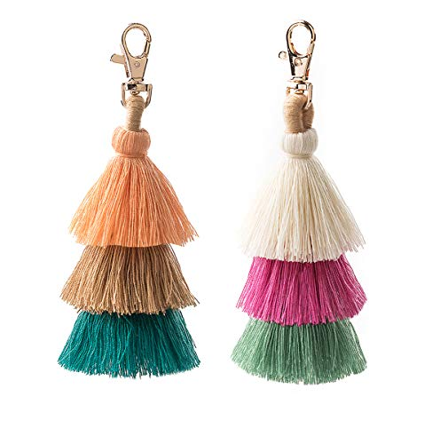 2 Pieces Colorful Bohemian Tassels Key Chain Charm Bag Pendant Keychain Car Accessories(18)