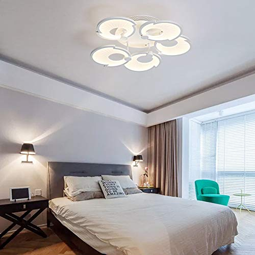 QLIGHA Ceiling Lights Postmodern LED Shell Shape White Acrylic Illumination for Bedroom Living Room Interior Simple Chandelier