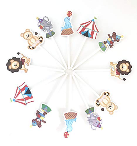 Circus Cupcake Toppers 12 pcs - Neutral Carnival Birthday Decoration Party Supplies, Big Top Baby Shower Themed -