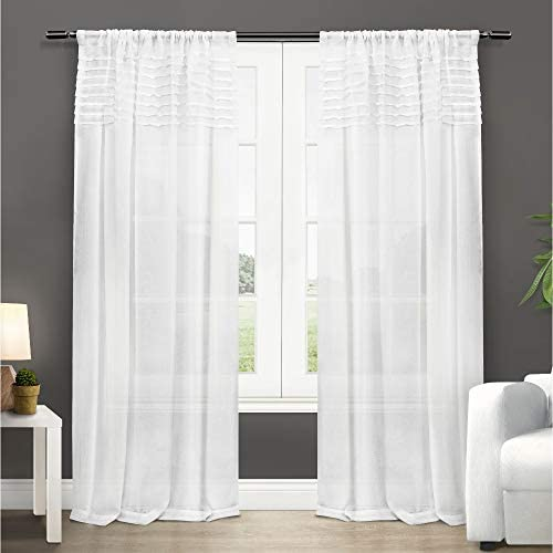 Exclusive Home Curtains Barcelona Sheer Window Curtain Panel Pair with Rod Pocket, 50×108, Winter White, 2 Piece