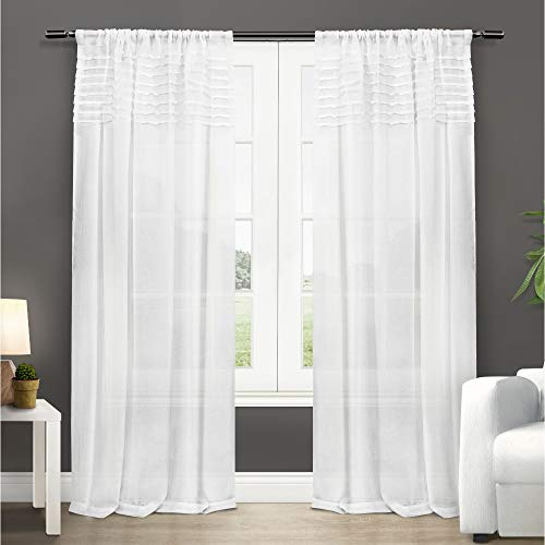 - Exclusive Home Curtains Barcelona Sheer Window Curtain Panel Pair with Rod Pocket, 50x108, Winter White, 2 Piece