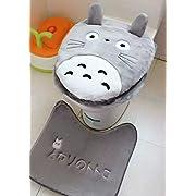 Hmlover Cute Cartoon Bathroom Pedestal Mat Cotton Non Slip Bath Mat Toilet Contour Rug, Closestool Lid Cover,Seat Cushion,3 Pcs Set [Totoro]