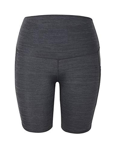 Rocorose Women's Bike Shorts Power Flex Mid Thigh Inner Pockets Jogging Hiking Pants Heather Gray XL (Best Shorts For Big Thighs Womens)
