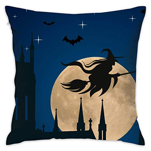 Private Bath Customiz Night Bat Witch Riding A Broom Full Moon Square Decorative Throw Pillow Case Cushion Covers Home Pillowcases 16 X 16 Inch ()