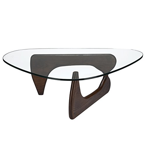 Poly and Bark Sculpture Coffee Table in Dark Walnut (Glass Tables Coffee Modern)