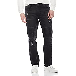 Quality Durables Co. Men's Distressed Athletic Fit Stretch Black Moto Jean