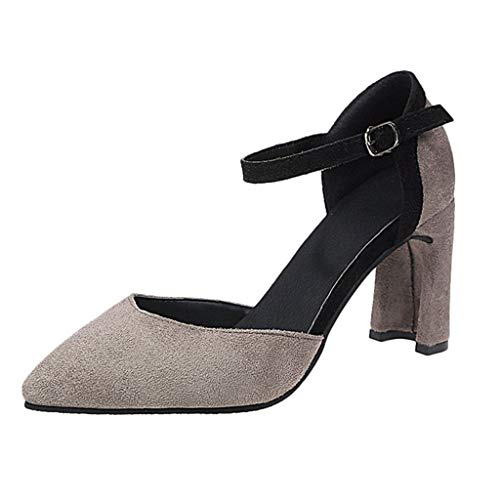 Aunimeifly Women's Ankle Strap Buckle Strap Mid Heels Shoes Lady's Solid Color Suede Pointed Toe Chunky Pumps Gray